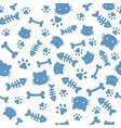 cat boy pattern blue paw animal footprints vector image vector image
