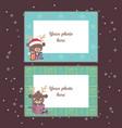 christmas photo frames with festive reindeer vector image
