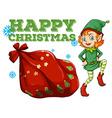 Christmas theme with elf and present bag vector image vector image