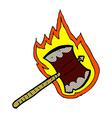 comic cartoon flaming axe vector image