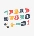 cute bold font numbers set vector image vector image