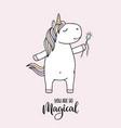 cute unicorn with magic wand vector image