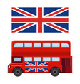 Double decker bus with flag of great britain