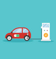 eco-friendly electric car charging green energy vector image vector image