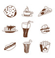 fast food doodle selection of goodies drawings vector image vector image