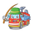 fishing fire truck mascot cartoon vector image vector image