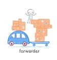 forwarder rides on a machine that carries boxes vector image vector image