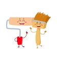 Funny paint roller tool character smiling and vector image