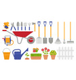 garden tools gardening collection flat vector image vector image