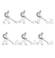 gardener with leaf blower walk sequence drawing vector image vector image