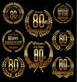golden laurel wreath anniversary collection 80 vector image vector image