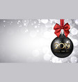 grey 2019 new year background with black christmas vector image vector image