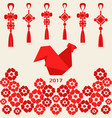 happy chinese new year 2017 of red rooster with vector image vector image