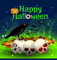 happy halloween in magic forest vector image