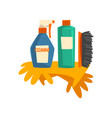 household cleaning products bottles detergent vector image