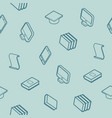 library outline isometric pattern vector image vector image