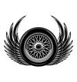 monochrome with wings and wheel vector image vector image