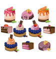 mousse chocolate delicious cakes set collection vector image vector image