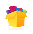 opened gift box surprise celebration event vector image vector image