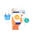ordering goods via smartphone icon vector image vector image