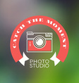 Photography Logo Design Template Retro Badge Catch vector image vector image