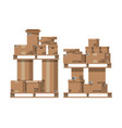 pile cardboard boxes on wooden pallets vector image vector image