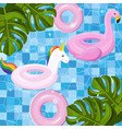 pool floating toys summer card background vector image vector image