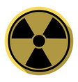 radiation round sign flat black icon with vector image vector image