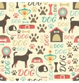 Retro seamless pattern of dog icons Endless vector image vector image