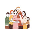 reunion concept big family embracing vector image vector image