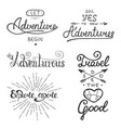 set adventure and travel lettering vector image