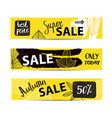 set of autumn sale banners with hand drawn vector image vector image