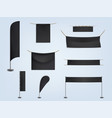 set of black blank textile banners vector image vector image