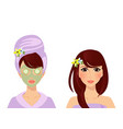 set of cute girl character in turban and bath robe vector image