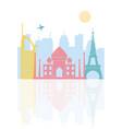 skyline landmark famous buildings architecture vector image