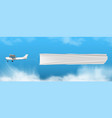 small propeller airplane towing clear white banner vector image vector image