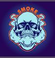 smoke weed skull silhouette vector image