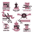tailor shop and fashion store promotional emblems vector image vector image