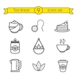 Tea accessories linear icons set vector image vector image