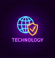 technology neon label vector image