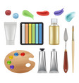 tools for painters craft office supplies pencils vector image