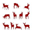 various silhouettes deer vector image vector image