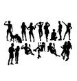 woman selfie silhouettes vector image