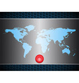World map over metallic silver plate with scary vector image vector image