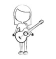 sketch draw women guitar cartoon vector image
