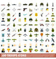 100 troops icons set flat style vector image vector image