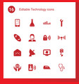 16 technology icons vector image vector image