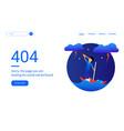 404 error web pages design with boy and umbrella vector image vector image