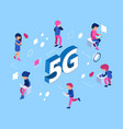 5g network concept isometric 5g wifi net vector image vector image