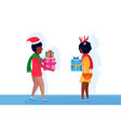 african american couple giving present each other vector image vector image